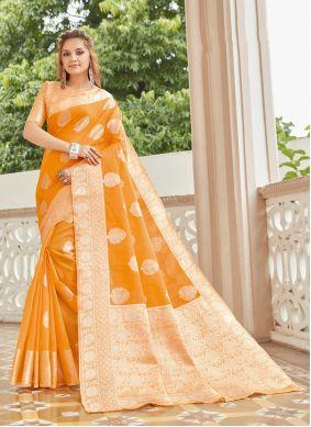Linen Orange Weaving Classic Saree