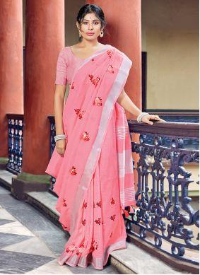 Linen Pink Classic Saree