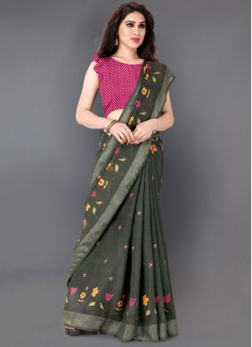 Linen Printed Casual Saree in Green