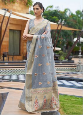 Linen Weaving Classic Saree in Grey