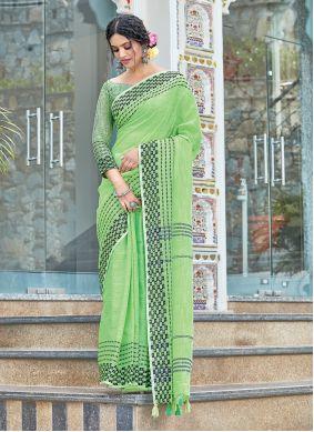 Linen Weaving Designer Traditional Saree