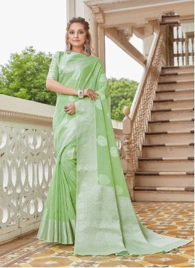 Linen Weaving Green Classic Saree