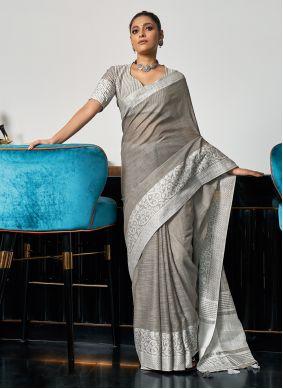 Grey Linen Weaving Traditional Saree
