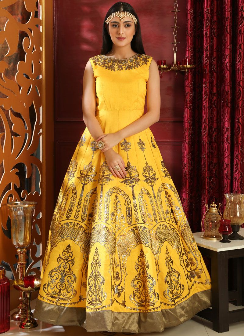Lively Embroidered Art Silk Yellow Designer Gown
