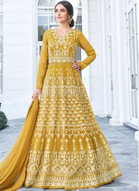 Lively Faux Georgette Resham Floor Length Anarkali Suit