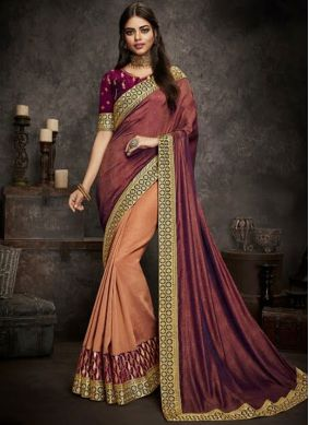 Lively Magenta and Peach Embroidered Designer Half N Half Saree