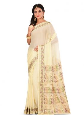 Lively Off White Sangeet Designer Traditional Saree