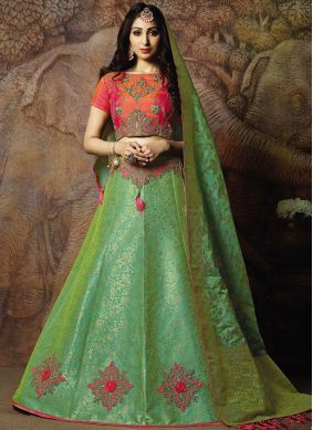 Lively Thread Jacquard Silk Trendy Lehenga Choli