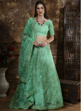 Lovable Sea Green Organza Lehenga Choli