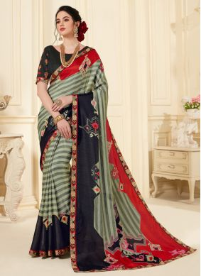 Lovely Abstract Print Festival Printed Saree