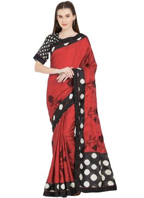 Lovely Abstract Print Red Art Silk Casual Saree