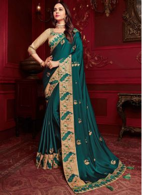 Lovely Embroidered Georgette Satin Classic Designer Saree