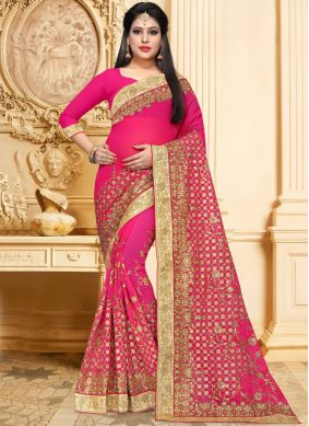 Lovely Faux Georgette Hot Pink Resham Classic Saree