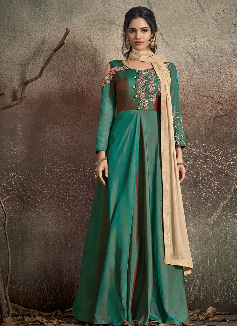 Lovely Green Embroidered Readymade Designer Gown