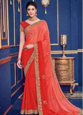 Lovely Orange Patch Border Faux Georgette Shaded Saree