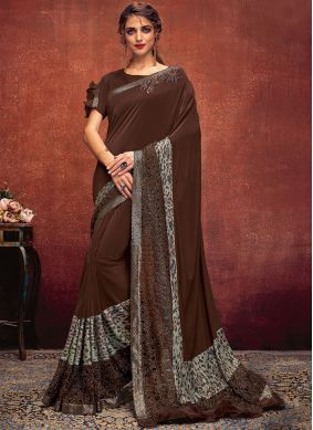 Lycra Designer Designer Saree in Brown