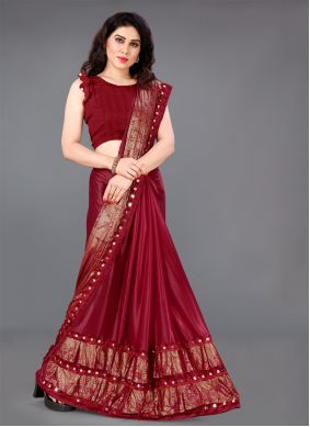 Lycra Red Casual Saree