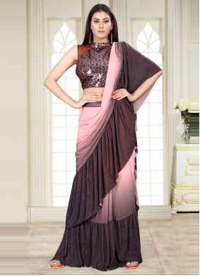 Lycra Sequins Work Pink and Wine Shaded Saree