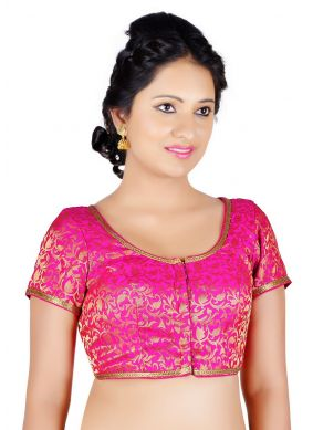 Machine Embroidery  Brocade Designer Blouse in Pink