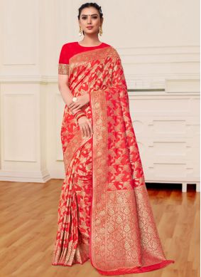 Magenta and Red Banarasi Silk Trendy Saree