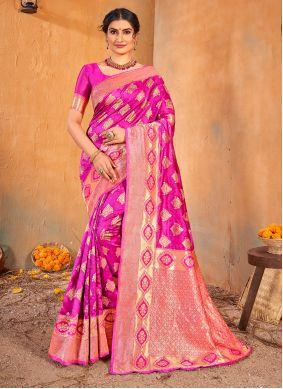 Magenta Banarasi Silk Classic Saree