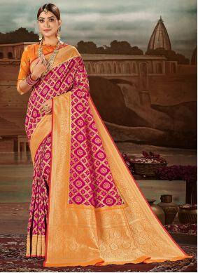 Magenta Banarasi Silk Traditional Designer Saree