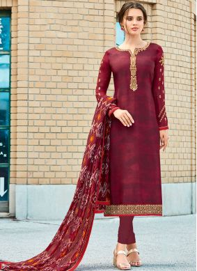 Magenta Ceremonial Crepe Silk Churidar Designer Suit