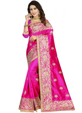 Magenta Embroidered Classic Designer Saree