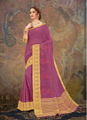 Magenta Embroidered Faux Chiffon Traditional Saree