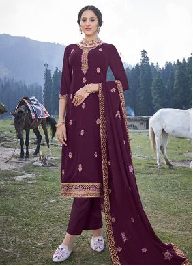Magenta Embroidered Faux Georgette Trendy Salwar Suit