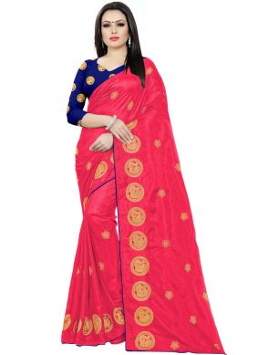 Magenta Embroidered Festival Classic Saree