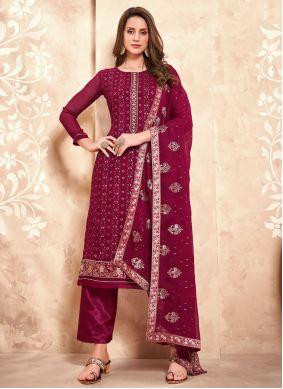 Magenta Embroidered Festival Designer Pakistani Salwar Suit