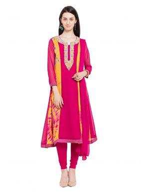 Magenta Faux Georgette Readymade Anarkali Salwar Suit