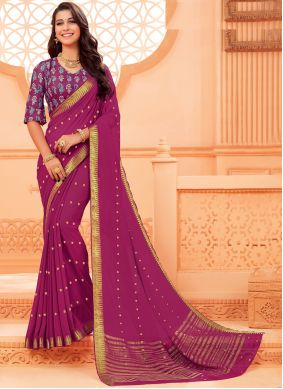 Magenta Party Faux Chiffon Classic Saree
