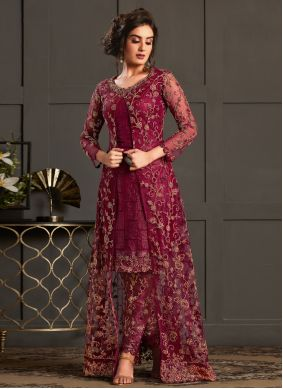 Magenta Wedding Designer Floor Length Salwar Suit
