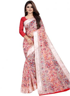 Magnetic Abstract Print Linen Multi Colour Printed Saree