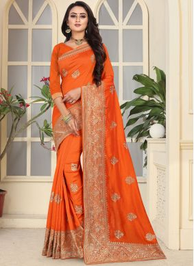 Magnetic Art Silk Embroidered Orange Designer Traditional Saree