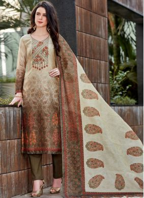 Magnetic Brown Print Chanderi Designer Pakistani Suit