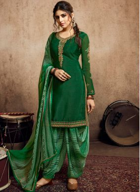 Magnetic Embroidered Faux Crepe Green Designer Patiala Salwar Kameez