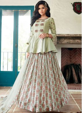 Magnetic Embroidered Sea Green Long Choli Lehenga