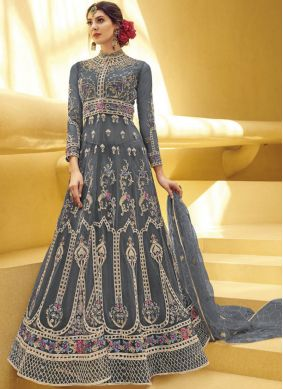 Magnetize Net Embroidered Grey Designer Gown