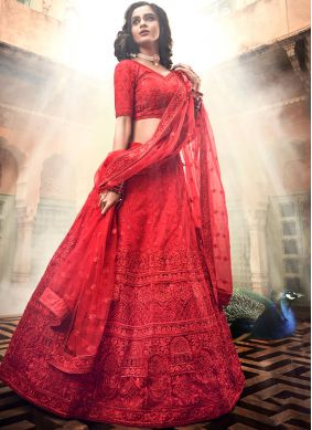 Magnetize Net Embroidered Red Lehenga Choli