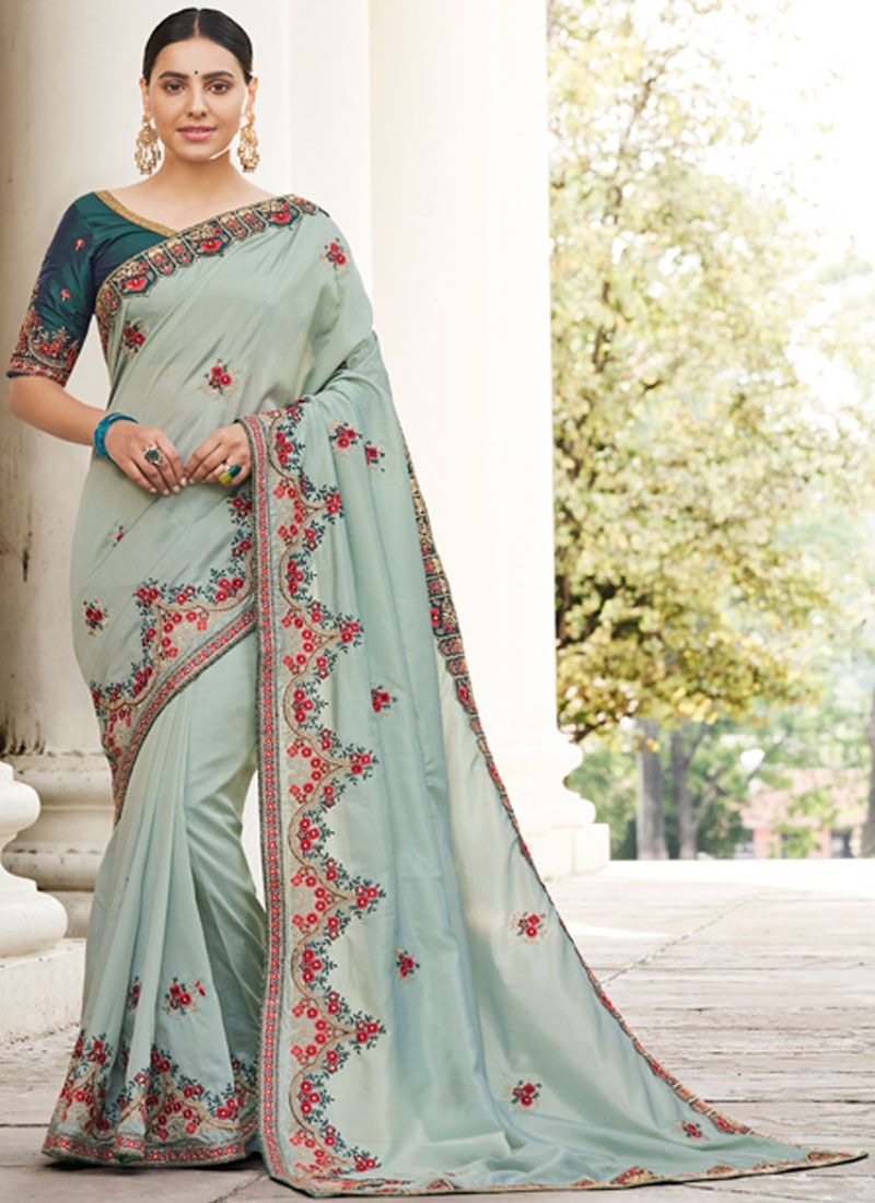 Magnetize Sea Green Thread Work Georgette Classic Designer Saree
