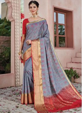 Magnificent Art Silk Weaving Grey Silk Saree