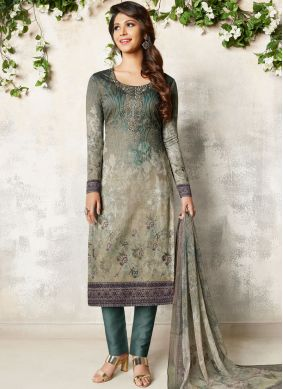 Magnificent Grey Abstract Print Churidar Designer Suit