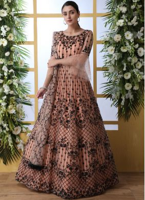 Magnificent Net Thread Work Peach Designer Gown