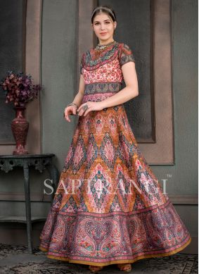 Magnificent Print Fancy Fabric Designer Gown