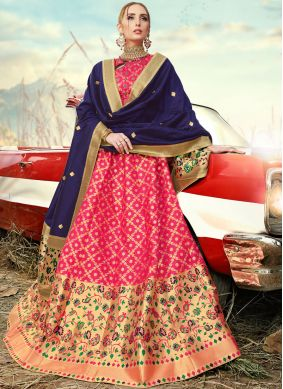 Magnificent Rose Pink Embroidered A Line Lehenga Choli