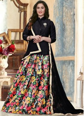 Majestic Black Fancy Banglori Silk Readymade Lehenga Choli