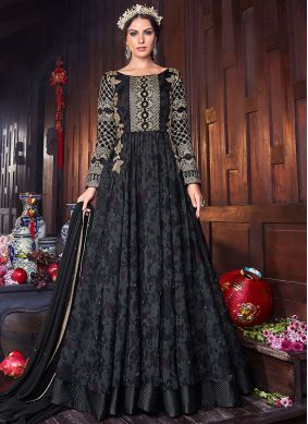 Majestic Black Reception Floor Length Anarkali Suit